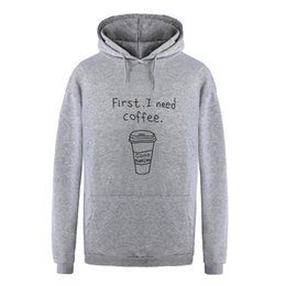 Wholesale First Coffee - 2018 Autumn Women Fashion Letter Print First I Need Coffee Hoodies Men Lovers Long Sleeve Casual Hooded Sweatshirt Pullover