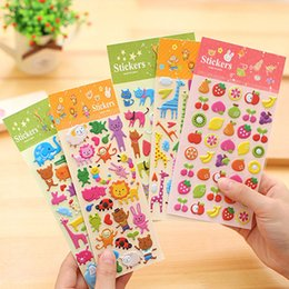Wholesale Kids Sticker Books - Kids' 3D cartoon stickers party phone decorative book paper diary sticker game children's gift toys animal bubble cotton stickers