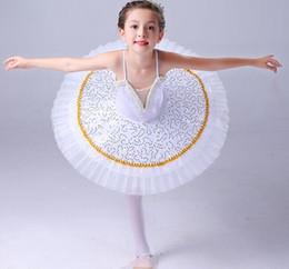 Robes de danse blanches professionnelles en Ligne-Tutu de danse de ballet blanc de sequins professionnels Little Swan Lake pour enfants jupe de ballet pour robe de performance pour enfants