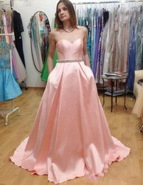 Wholesale sexy kleider - Kleider Cheap Sweetheart Pink Satin Beaded Belt Long Prom Dresses with Pockets Evening Party Dress Cheap Dress