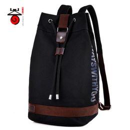 Wholesale Black Cotton Drawstring Bag - Senkey style Men Canvas Backpack Fashion Drawstring bag Teenagers Men Women Casual Travel Rucksack Bucket Bag Student School
