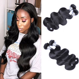 12 inch wavy hair extensions Promo Codes - 8A Brazilian Virgin Human Body Wave Hair Weave 8-30 inch 100grams piece Body Wavy Hair Natural Black 2pcs lot Hair Extensions