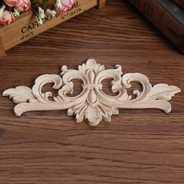 Wholesale Happy Decal - ecoration Crafts Figurines Miniatures Carving Wood Decoration Wood Furniture Wooden Applique Decal Corner Onlay Applique Frame for Home D...