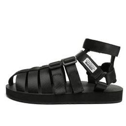 zapatos de tendencia masculinos Rebajas Personalidad japonesa de verano Baotou sandalias tendencia masculina par de zapatos romanos de gran tamaño Gaobang zapatos de playa romanos