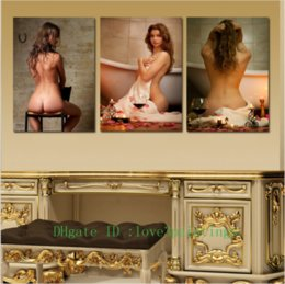Wholesale Nude Body Painting - Nude Women Body,3 Pieces Home Decor HD Printed Modern Art Painting on Canvas (Unframed Framed)