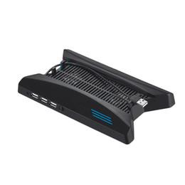 2019 spielkartenabdeckung Freeshipping Berufsvertikaler Standart-Spiel-Disketten-Speicher-Halter USB, der Stand mit Ventilator für PS4 PRO Schwarz auflädt