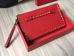 Wholesale Black Studded Bag - AAAAA 28cm Rockstud Clutch Bag Nappa Leather Snap closure studded front hand strap wrist strap with Dust Bag Box Receipt