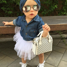 Wholesale top fashion outfits for kids - 2018 Baby Girl Denim Fashion Set Clothing Long Sleeve Shirts Tops+Shorts Skirt+Bow Headband 3PCS Outfits for Children Kid Casual Tracksuit