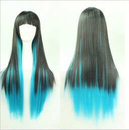 Wholesale Gradient Hair Extensions - Harajuku wind black gradient blue wig wholesale Cosplay European and American heat resistant Ladys WIGS Peluca Products