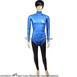 Peltro con blu sexy catsuit in lattice con tasca con cerniera e cerniera posteriore Tuta in gomma con cerniera Zentai Overall LTY-0098 da