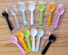 Wholesale mini plastic spoon - Disposable Plastic Ice Cream Spoon Tea Spoon Mini Size Flatware Cutlery Baby Shower Party Supplies Xmas