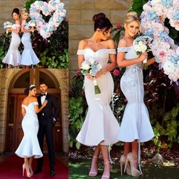 Wholesale Purple Tea Length Cocktail Dress - Chic Modern Short Mermaid Bridesmaid Dresses Sexy Off Shoulders Appliques Maid of Honor Gowns Cocktail Prom Dress Custom Made 2018
