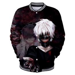 chaqueta de anime tokio ghoul Rebajas BTS Harajuku estilo suelta uniforme de béisbol anime Tokyo Ghoul 3D hit hombres y mujeres uniforme de béisbol chaqueta tokio 4XL abrigo casual