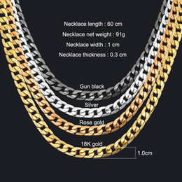 Wholesale silver chains cuban - Miami Cuban Link Chain Necklace 1cm Silver Gold Color Curb Chain For Men Jewelry Corrente De Prata Masculina Wholesale mens necklace