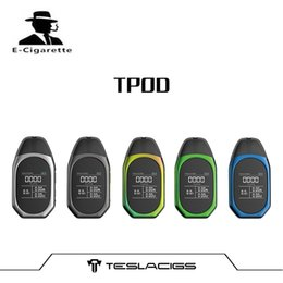 Wholesale portable t - Authentic Tesla TPOD Kit with 2ml Cartridge POD tank 500mah Battery Portable all in one e-cig kit teslacigs t pod vaping kit