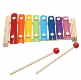 Xilofones de madeira on-line-Aprendizagem Educação Xilofone De Madeira Para Crianças Criança Brinquedos Musicais Xilofone Sabedoria Juguetes 8-Nota Instrumento Musical Educacional