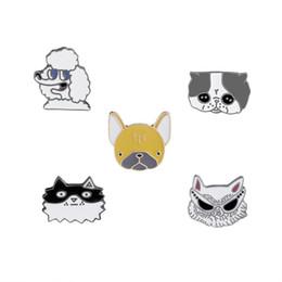 Wholesale cool metal badge - Cute Metal Brooch Pins Lapel Cool Animal Poodle Dog Cat Sunglasses Enamel Pins Badge for Women Girls for Clothing Bag Decor