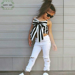 spring fashion colours Coupons - 2018 Fashion Girls Suit Stripe Tops +Pants 2 Pieces The Strapless Set Kids Bowknot Hole White Pants Childrens Clothing Set Dtz346