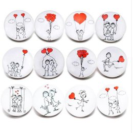 Wholesale Crystal Bead Mixes - 10pcs lot New Glass Snap Jewelry Mixed Lovers Heart Pattern 18mm Glass Snap Buttons For DIY Snap Bracelet Valentine's Day