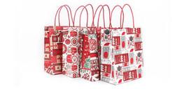 2020 papel de regalo rojo de navidad Bolsas de papel artesanales rojas para galletas Accesorios de vacaciones Bolsas de papel estilo vacaciones para galletas Bocadillos Candys Regalos de Navidad papel de regalo rojo de navidad baratos