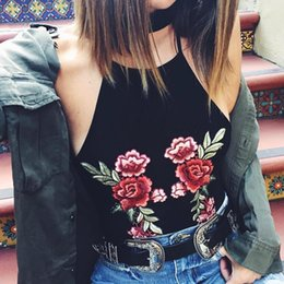 Wholesale Girls Tank Top Flower - CN-RUBR Rose Flower Embroidery Halter Camisole Summer Black Cool Lndividuality Girl Tank Tops Bralette Sexy New Knitted Vest