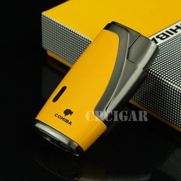 Wholesale Punch Cigars - COHIBA Multifunctional Flame Lighter 1Torch Windproof Refillable Butane Gas Cigar jet Lighter w  Built-in Cigar Punch w Gift Box