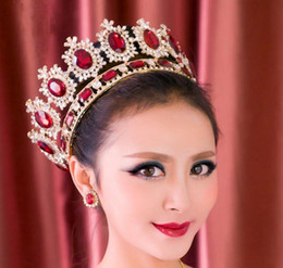 Wholesale Gold Tiara Red Rhinestones - Western Style Red Dimand Crystal Head Jewelry Princess Queen Wedding Party Hair Accessories Headwear Baroque Bridal Crown Tiaras Crowns