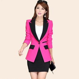 Wholesale ladies coat office wear - Ladies Blazers and Coats Plus Size Office Wear Work Black Slim Small One Button Suit Bodycon Blazer Jackets Women Coat Female