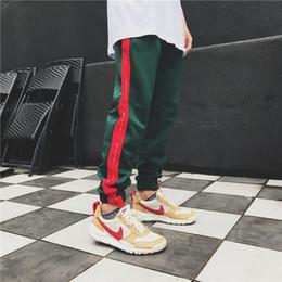 Wholesale Vintage Sweatpants - Justdon Mens New Bieber FOG style Vintage Panelled Sweatpants Side Stripe Letter Printing Contrast Color Jogger Elastic Waist Mens SweatPant