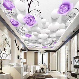 Wholesale Photo Paper Canvas - Purple Rose Flower 3d Wall Paper Photo Mural for Walls wall papers home decor bedroom wallpaper canvas wall mural custom size