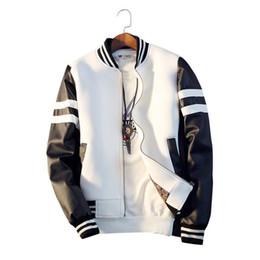 kreuztasche großhandel Rabatt Baseballjacke Frühling Männer Jacke Spleißen PU Ärmel Mantel Lässige Baseball Kragen Kurze Marke Mantel