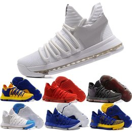 Wholesale Kd Shoes Low Cheap - Hot Sell 2018 New KD 10 X Oreo Be Cheap True Basketball Shoes for Kevin Durant Finals PE University Red Mid Cut Sports Sneakers