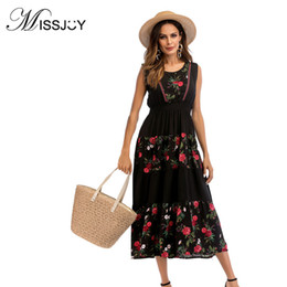 ff507399dc14 MISSJOY Abito moda nero con rose Abito donna estate senza maniche Casual  vintage stampato Holiday Party Mid Calf 2018 abiti estivi del mid-vitello  ...