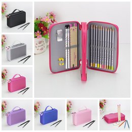 Wholesale pencils draw - Art Pencil Case Drawing Sketch Brushes Slots Holder Canvas Pouch School Cosmetic makeup brushes organizer Pen Bag Kids Purse AAA728