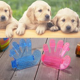 Wholesale Finger Rake - Pet Dog Cat Grooming Shower Bath Massage Brush Comb Hand Shaped Glove Five Fingers Pet Clean Comb Massage Brush WX9-691