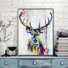 triptych canvas prints Promo Codes - WANGART Big Triptych Watercolor Deer Head Posters Print Abstract Animal Picture Canvas Painting No Frames Living Room Home Decor