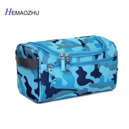 hanging waterproof cosmetic bags Promo Codes - 2018 Waterproof Men Cosmetic bag Hanging Makeup Bag nylon travel organizers Large Necessities Cosmetics Camouflage Storage