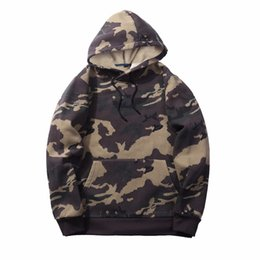 Wholesale camo fleece mens - EU US Size Mens Hoodies Sweatshirts Men Camo Army  Fleece Hood Sweatshirt Camouflage Streetwear Male Casual Tops Clothes