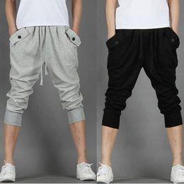 Wholesale Hot Men Sweatpants - 2018 Hot Sale!! Fashion Casual Loose Mens Capri Cropped Pants Sweatpants Jogger Trousers 2 Colors M-XXL