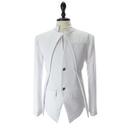 Wholesale White Stylish Men Blazers - New Fashion Mens Suits Mens Blazer Casual Business British Style Slim Stylish Fashion Jacket Black Grey White Size M-2XL