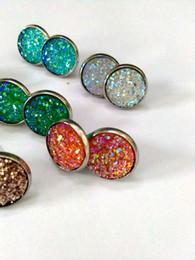 Wholesale Luxury Costume Jewelry Wholesale - Luxury Korean Brand Crystal Stud Earrings Vintage druzy stone Earrings for Women Party Costume Jewelry Bijoux Femme