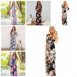 Wholesale long sleeve elegant maxi dresses - Boho Women Maxi Dresses V Neck Long Sleeve Women Elegant Floral Long Party beach Maternity Dresses 3 4 Sleeve Dress 5 color KKA4799