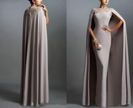 Elie saab gris largo vestido online-Sexy vestidos de noche formales 2016 Elie Saab gris con encaje de volantes del cabo con bordes baratos escarpados vestidos de fiesta de baile vestido de noche vestido