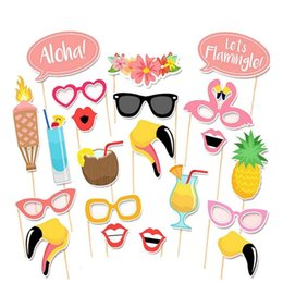 Wholesale hawaii mask - 21pcs Flamingo Hawaii Themed Summer Party Photo Booth Props Kit DIY Luau Party Supplies For Holiday Wedding Beach Party