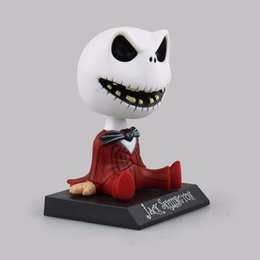 Wholesale Christmas Toy Car - 2 Types 10cm The Nightmare Before Christmas Jack Wacky Wobbler Bobble Head PVC Action Figure Toy Car Decoration with Opp bag