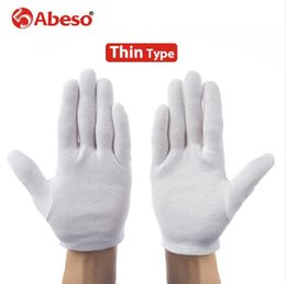 Wholesale Wholesale White Cotton Gloves - ABESO 12 pairs lot White 100% Cotton Ceremonial gloves for male female Serving   Waiters drivers Jewelry Gloves A6001