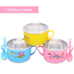 Wholesale Rice Steel Bowl - Stainless steel bowl Double Insulation Children's bowl Anti-drop anti-hot With a handle Children's tableware rice bowl