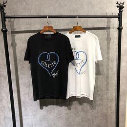 Wholesale Black Art Tee Shirts - 18FW Luxury Europe Paris High Collaboration Coco Love Heart Graffiti Art Tshirt Fashion Men Women T Shirt Casual Cotton Tee Top