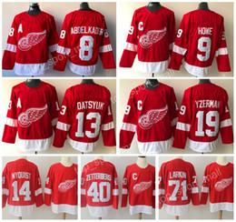 New Man Hockey Detroit Red Wings 9 Gordie Howe 13 Pavel Datsyuk Jerseys 19 Steve  Yzerman 40 Henrik Zetterberg 71 Dylan Larkin Red Embroidery a7b0b455b