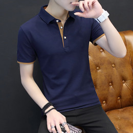 Wholesale Boys Polo T Shirts - New Arrival Mens Solid Polo Shirts Top Cotton Short Sleeve For Boys Brand Designer Polo Homme Casual Fit Lapel Mens Sports T-shirt 4XL
